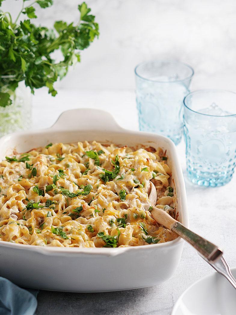 Tuna Noodle Casserole with peas in casserole