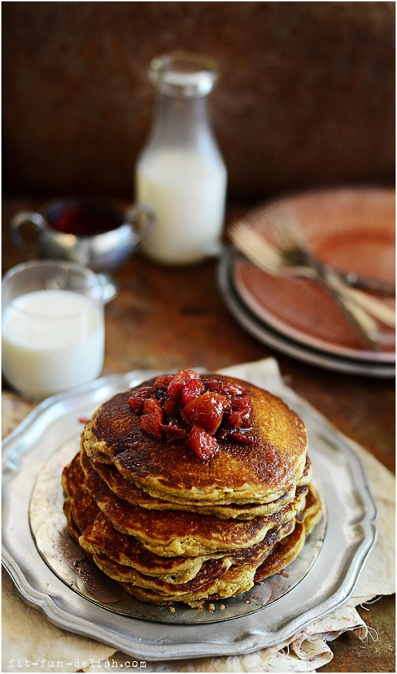 Griddle Pancakes with Plum Compote (gluten-free) by fit, fun & delish!