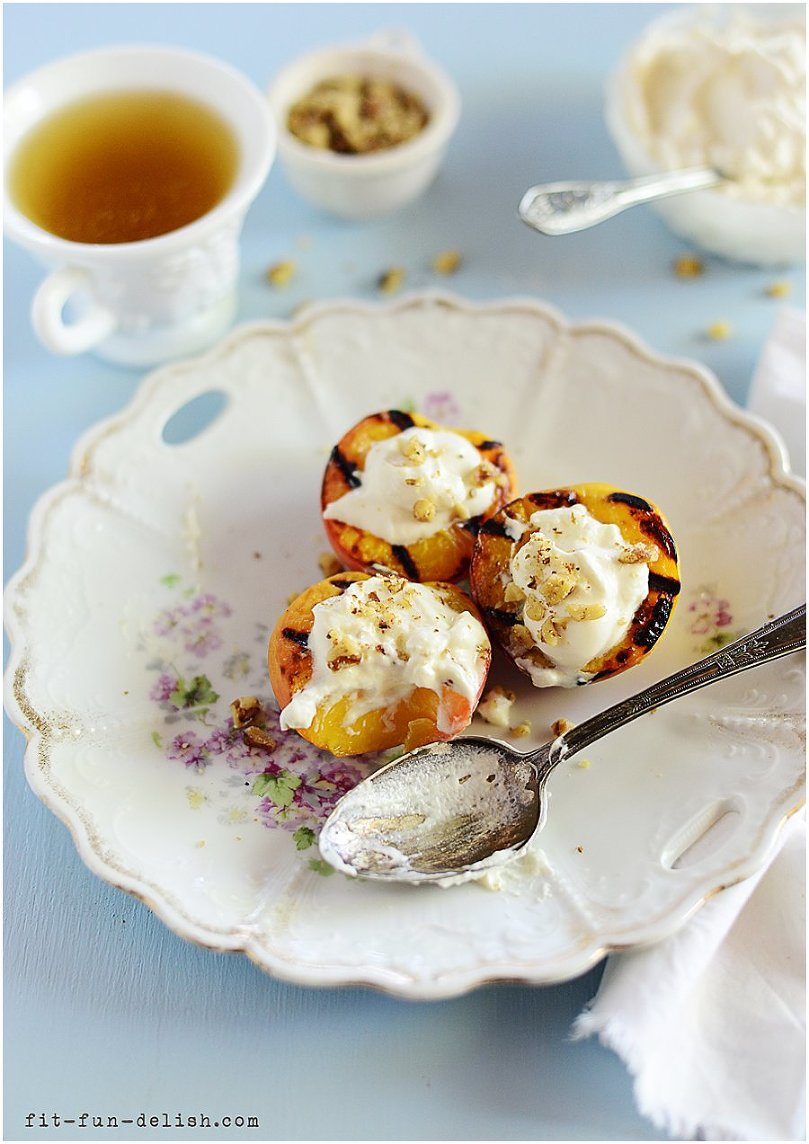 Grilled Peaches with Vanilla Cream & Walnuts l by fit. fun & delish!