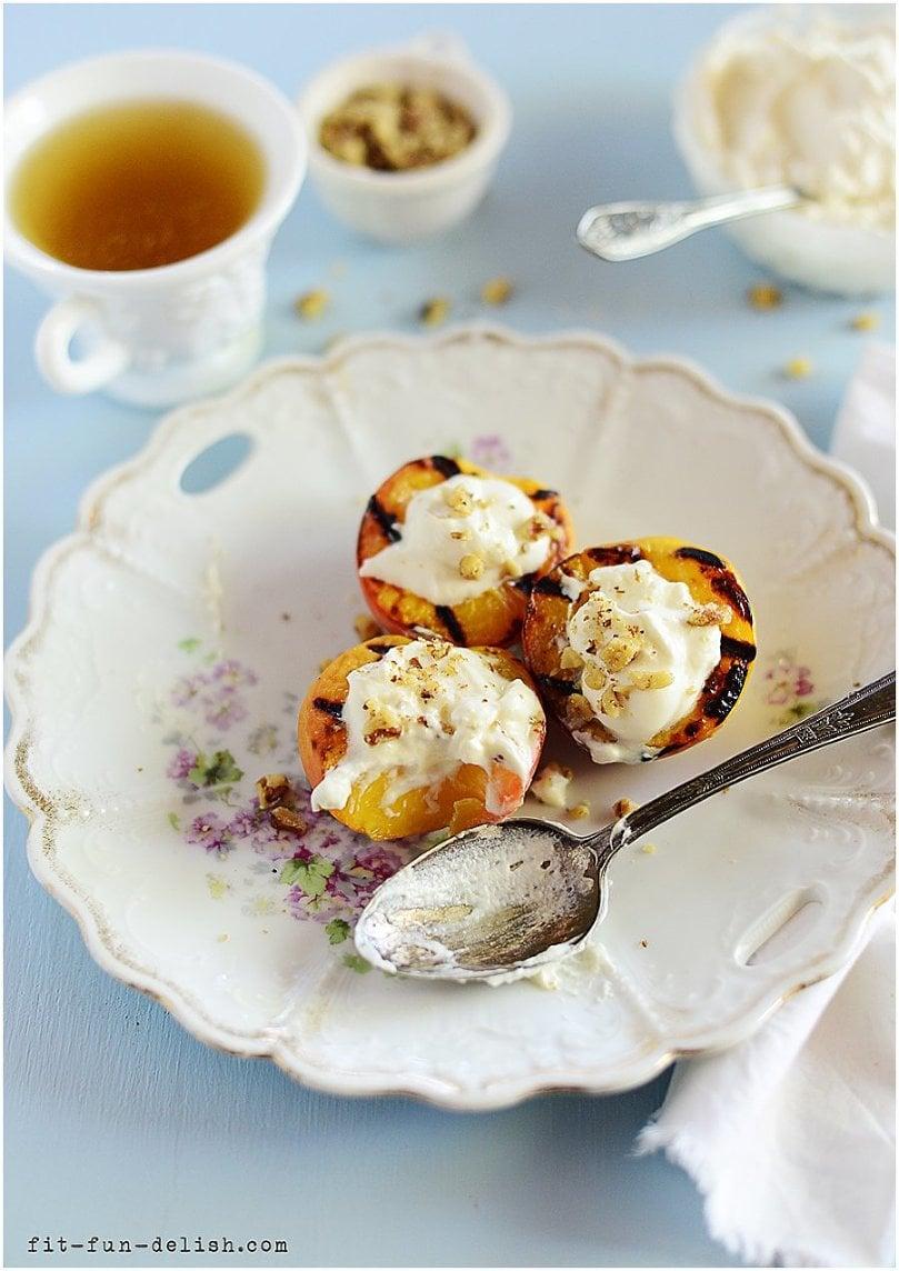Grilled Peaches with Vanilla Cream & Walnuts l by fit. fun & delish!