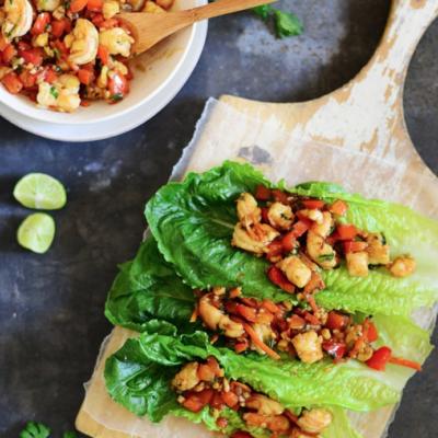 Shrimp Lettuce Wraps on a cutting board