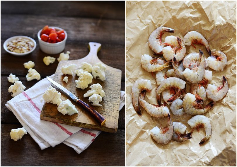 Shrimp with Cauliflower & Almonds - a very high in protein recipe by Fit, Fun & Delish!