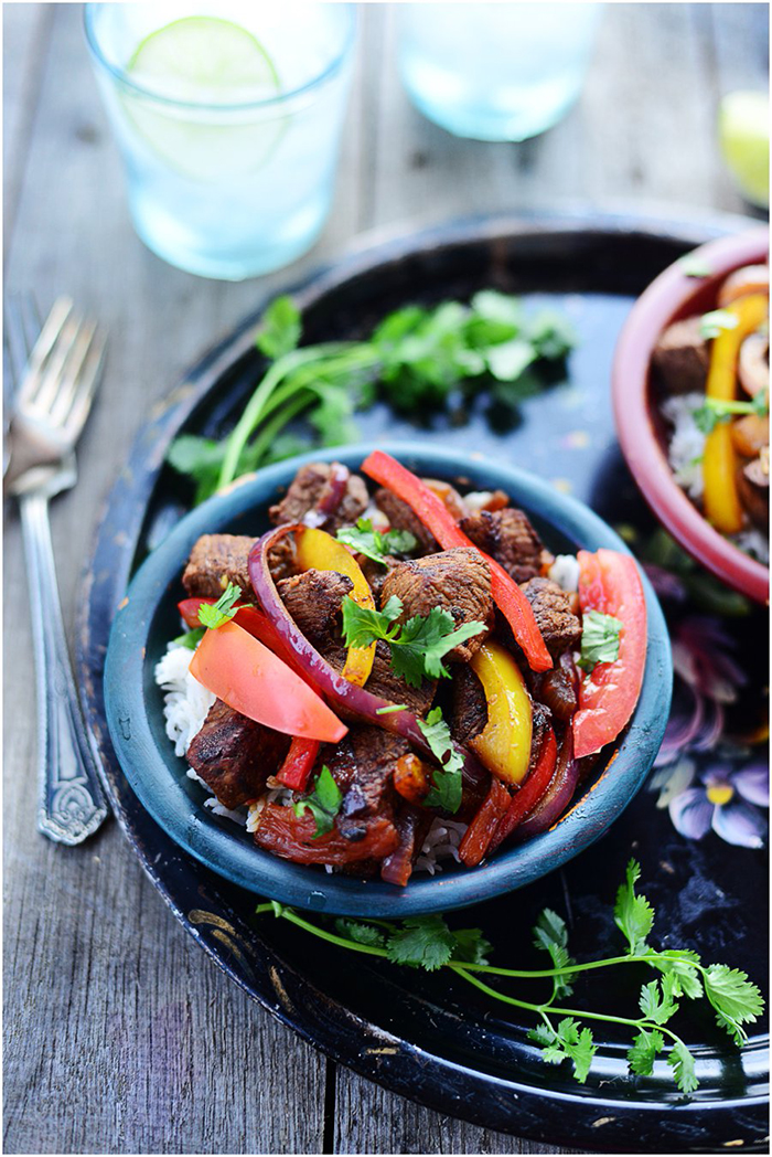 Mexican Beef Tenderloin with sautéed peppers & onions. 30 minute dinner via Fit, fun & delish!