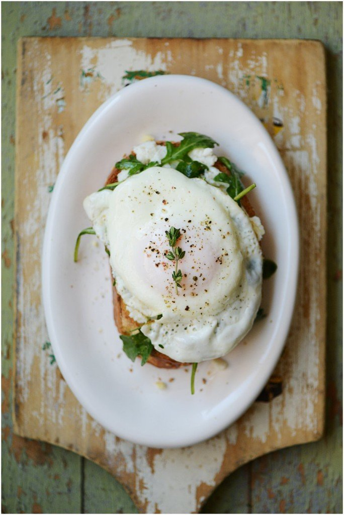Egg on a toast with ricotta