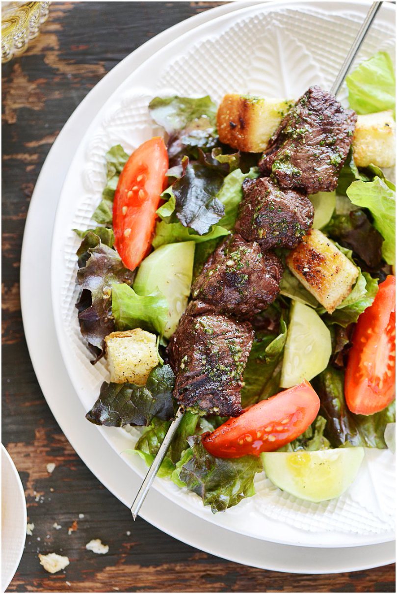 Grilled Steak Kebabs & Potatoes.  Served with chimichurri sauce and salad.