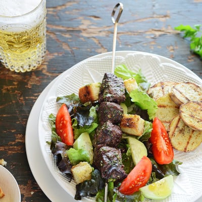Grilled Steak Kebabs & Potatoes