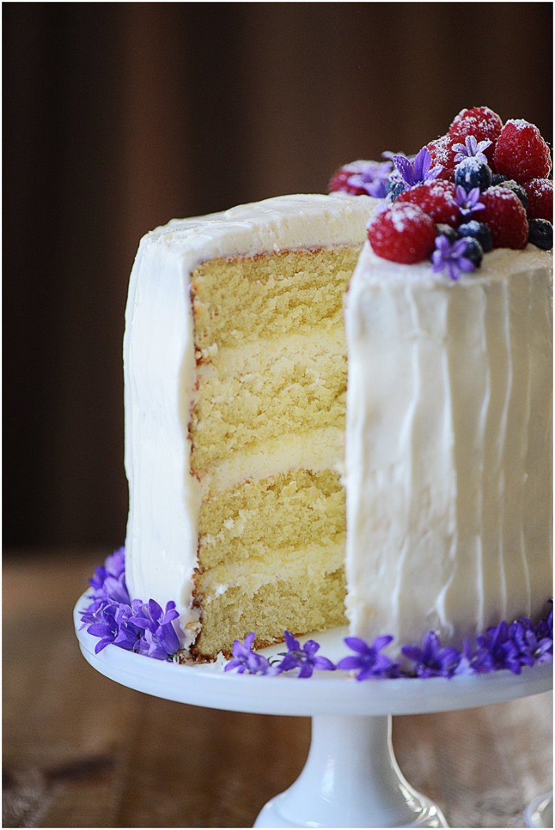 Yellow Cake with Buttery Cream Cheese Icing - This is simple recipe that lends a very moist and delicious yellow cake.