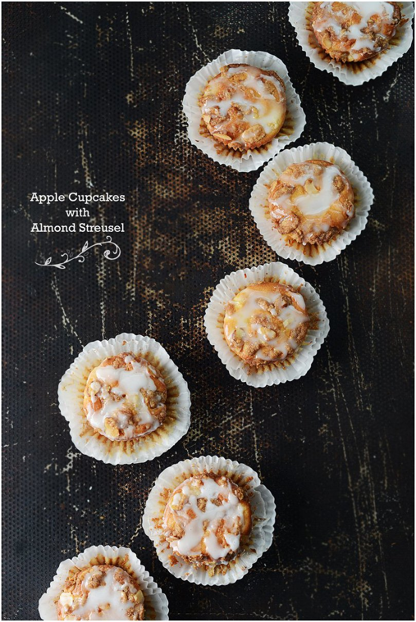 Apple Cupcakes with Almond Streusel