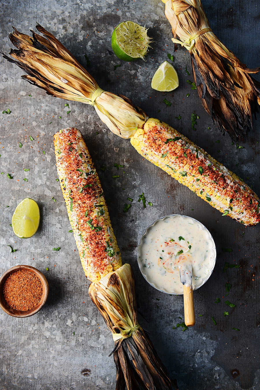 Elote Asado (grilled corn) with Cilantro Lime Ranch by Muy Delish