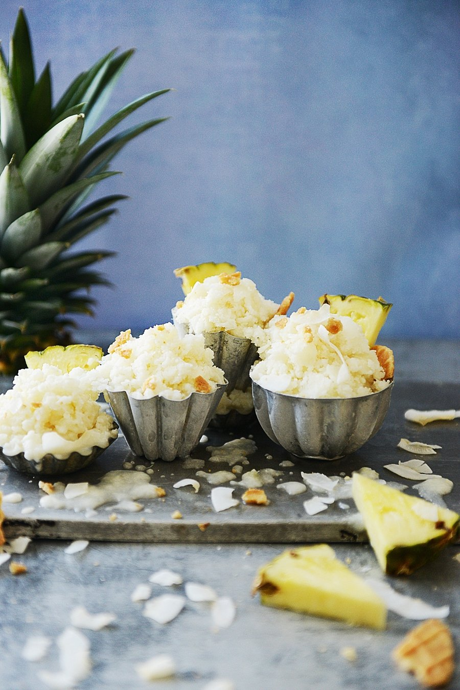 small metal bowls filled with Pina Colada Granita