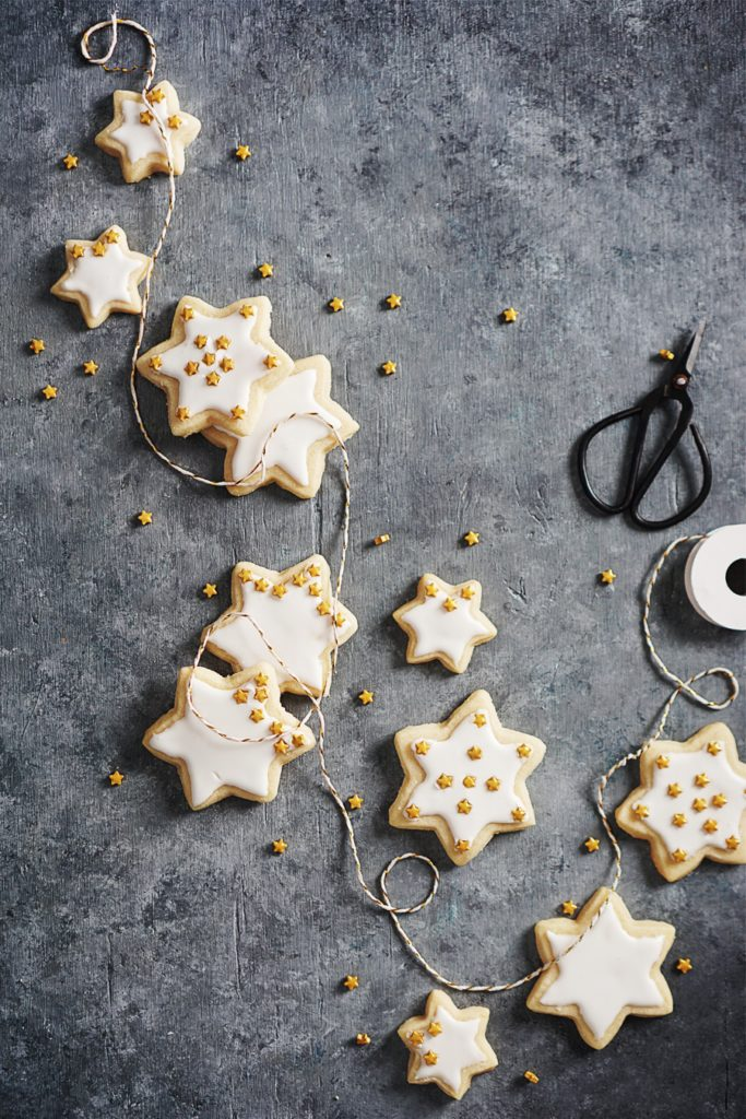 Star cookies on dark background