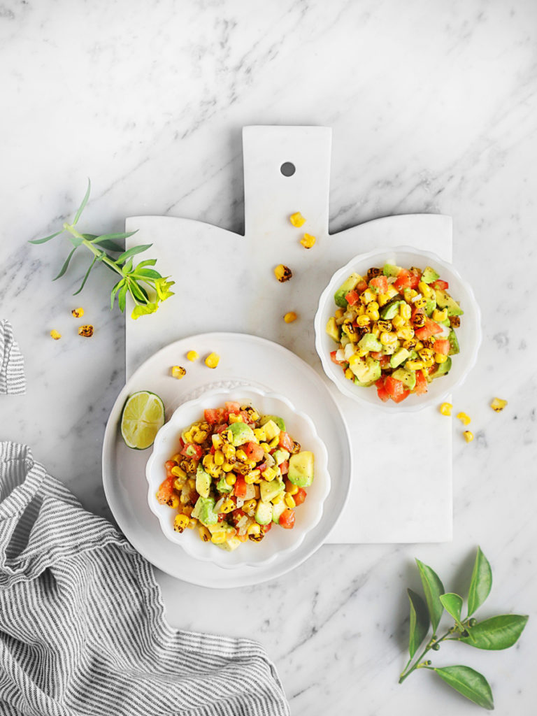 Mexican Corn Salsa with avocados and tomatoes
