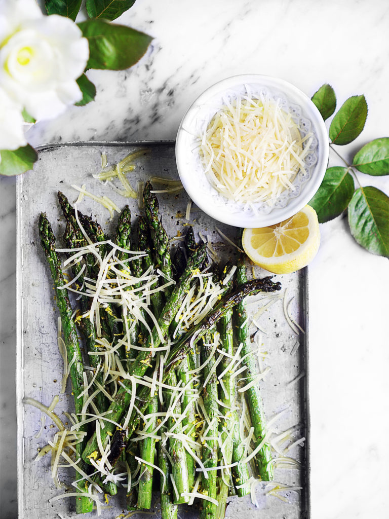 Grilled Asparagus on a metal tray.