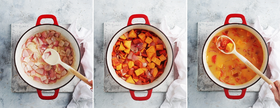3 process images: 1) cooking onions, 2) onions, bell peppers, tomatoes from a can & sweet potatoes