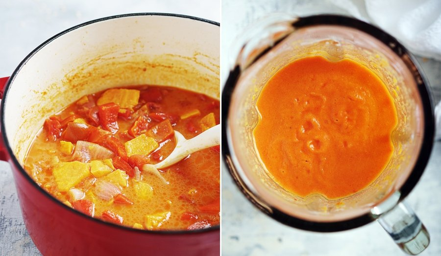 2 process images: 1) All vegetables are cooked in pot 2) Pureed vegetables in blender