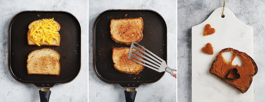 Skillet with two toasts making the cheesy toasted bread