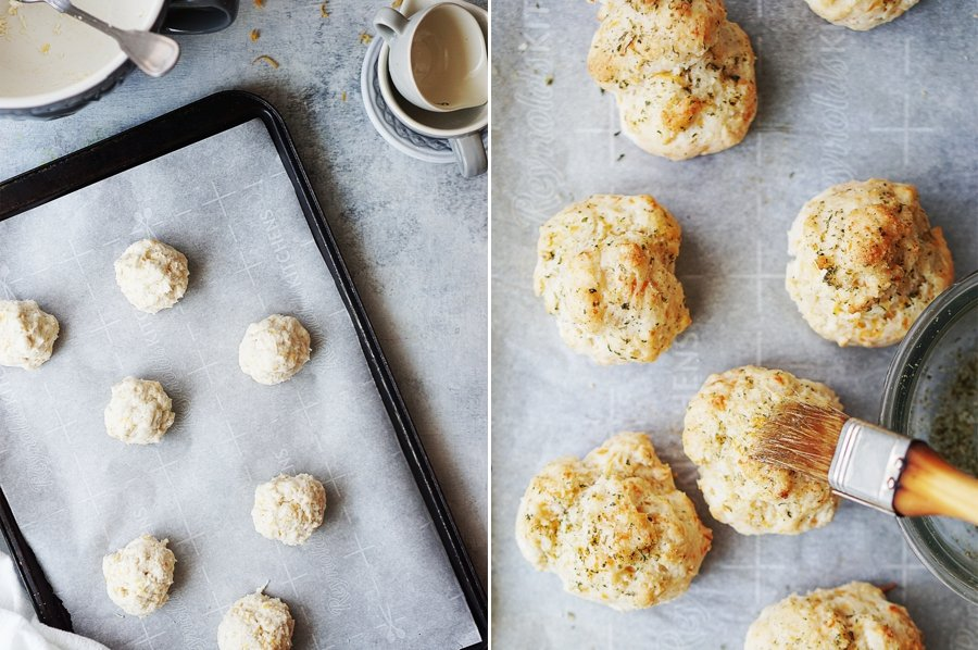 Process photos of dollops of dough/biscuits on cookie sheet.