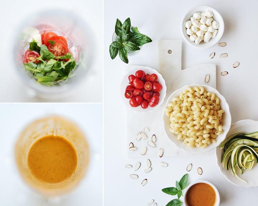 Photo of salad ingredients: Raw pasta, basil, pearl tomatoes & mozzarella balls, sliced zucchini
