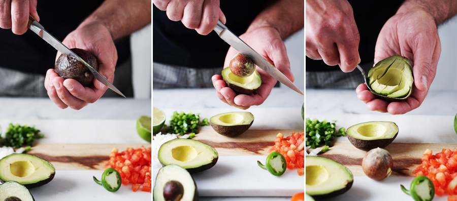 Three images of a man cutting an avocado with a knife