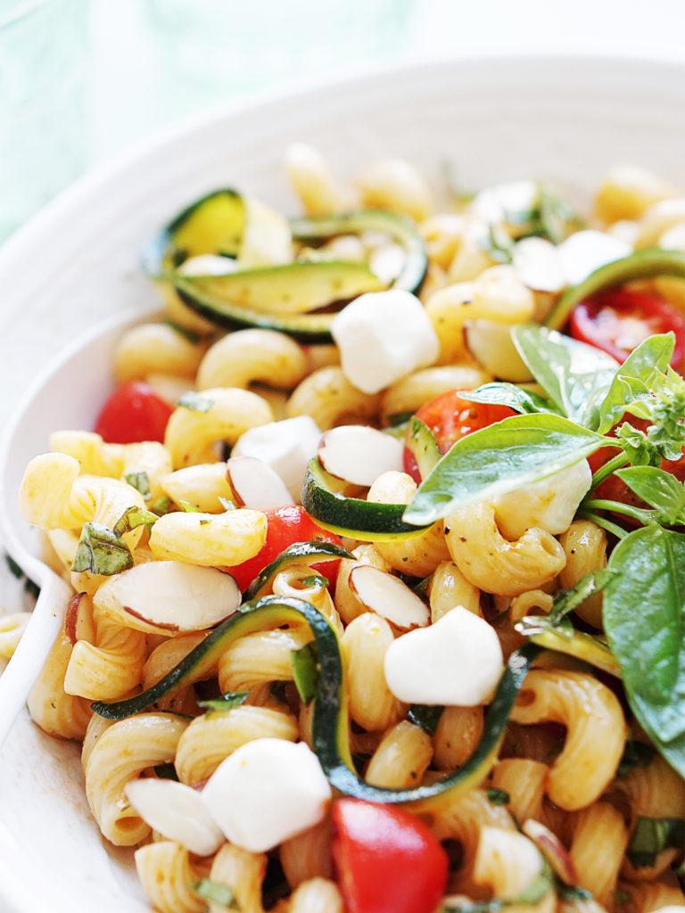 Close up photo of pasta salad