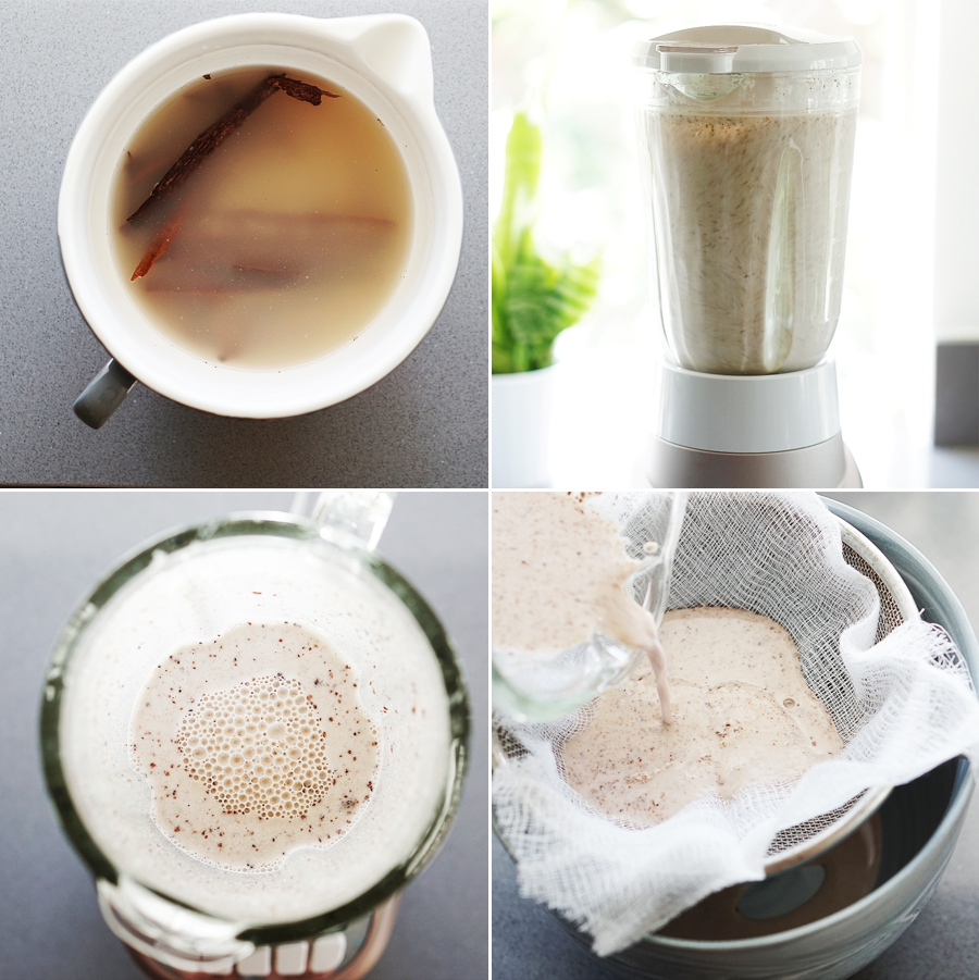 Process photos of horchata in blender