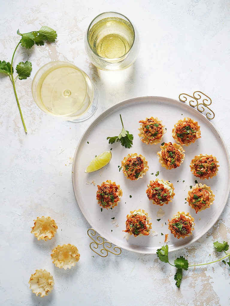 Appetizers on a white serving tray
