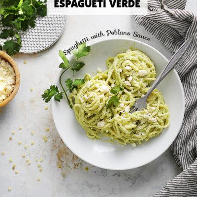 Epagueti Verde in a white bowl