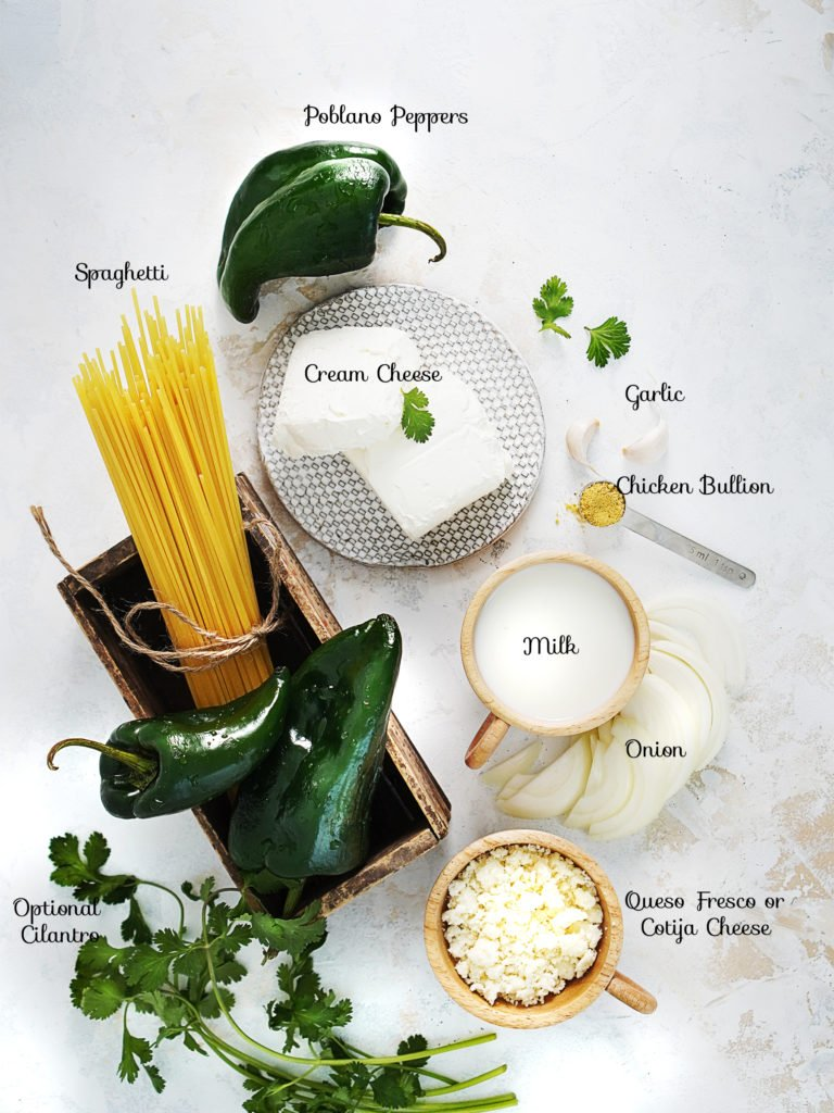 Ingredients for Espagueti Verde
