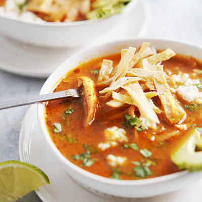 Soup topped with tortilla chips