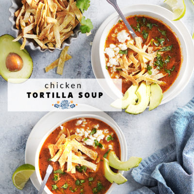 Two bowls with Chicken Tortilla Soup