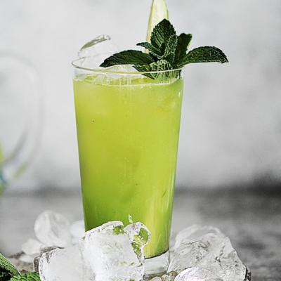 A glass with agua fresca