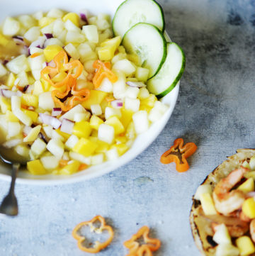 A big bowl with Mango & Cucumber salsa
