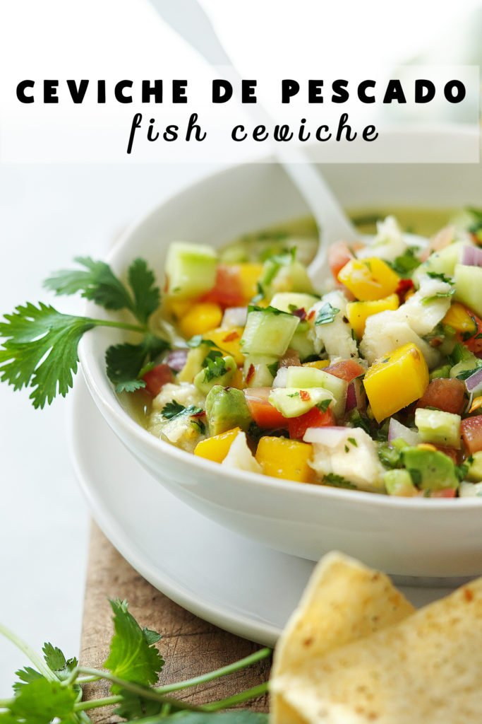 Fish Ceviche in a small white bowl