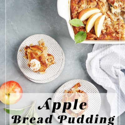 A baking pan with two small plates on the side served with bread pudding