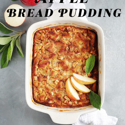 A baking dish with apple bread pudding