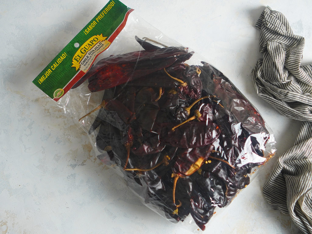 "A bag of chile guajillos. brand ""El guapo"""