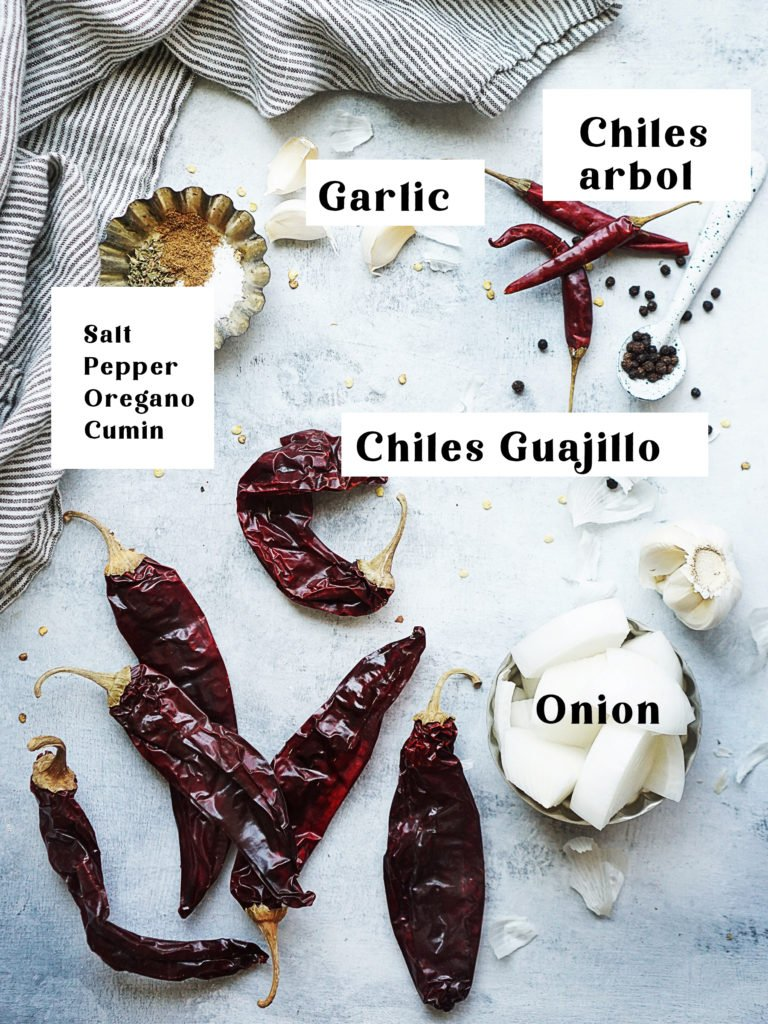 Ingredients: 6 dried chile guajillos, 3 chiles arbol, chopped onion and 3 garlic cloves