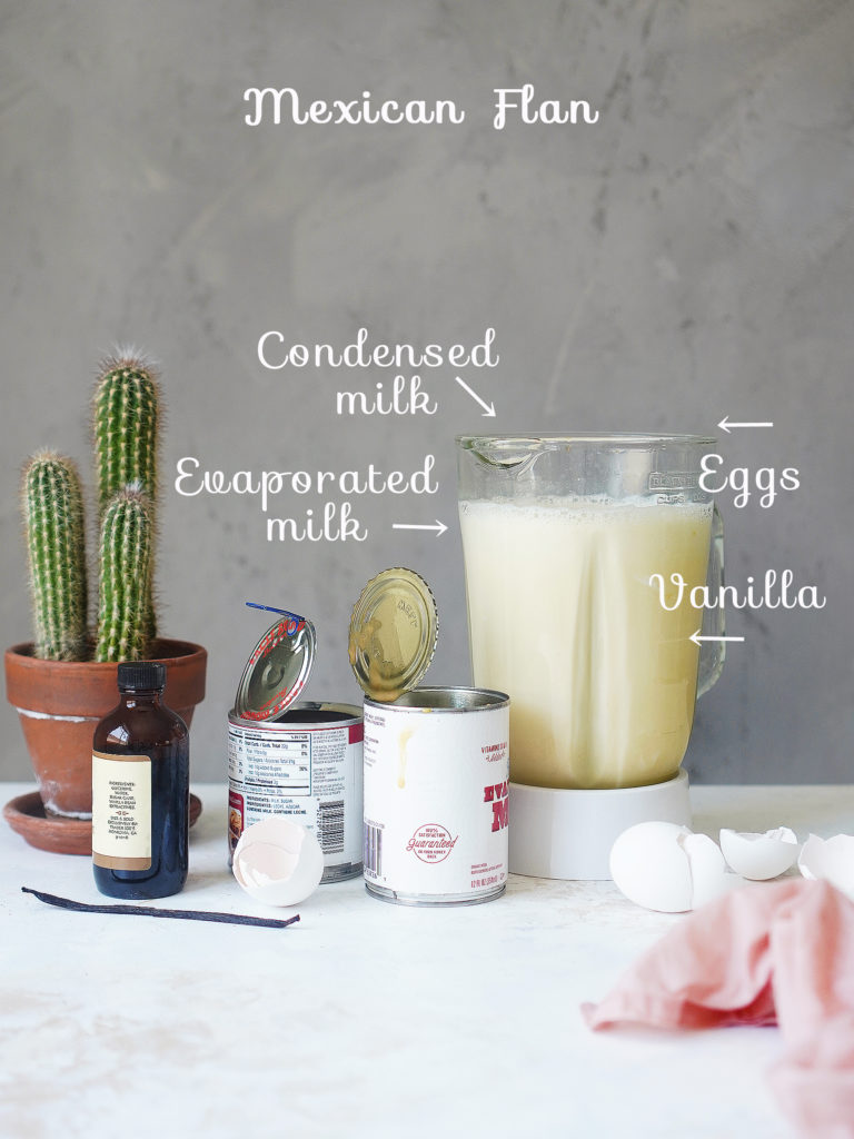 Ingredients: condensed & evaporated milk, eggs & vanilla in a blender