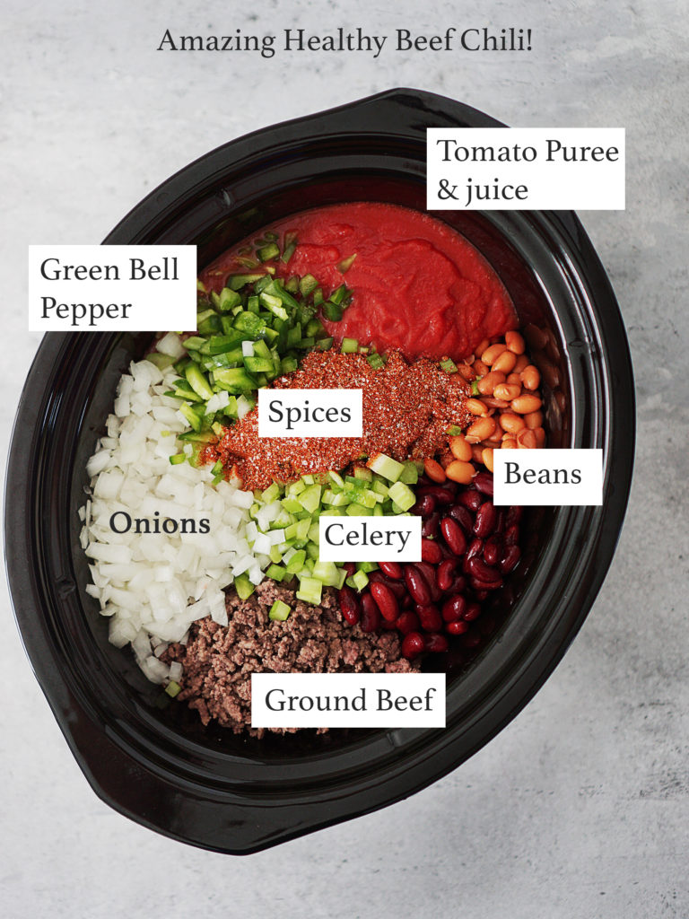 Ingredients in a crockpot: ground beef, celery, beans, onions, spices, tomato puree and green bell pepper