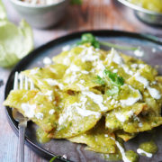 Chilaquiles with crema and queso fresco