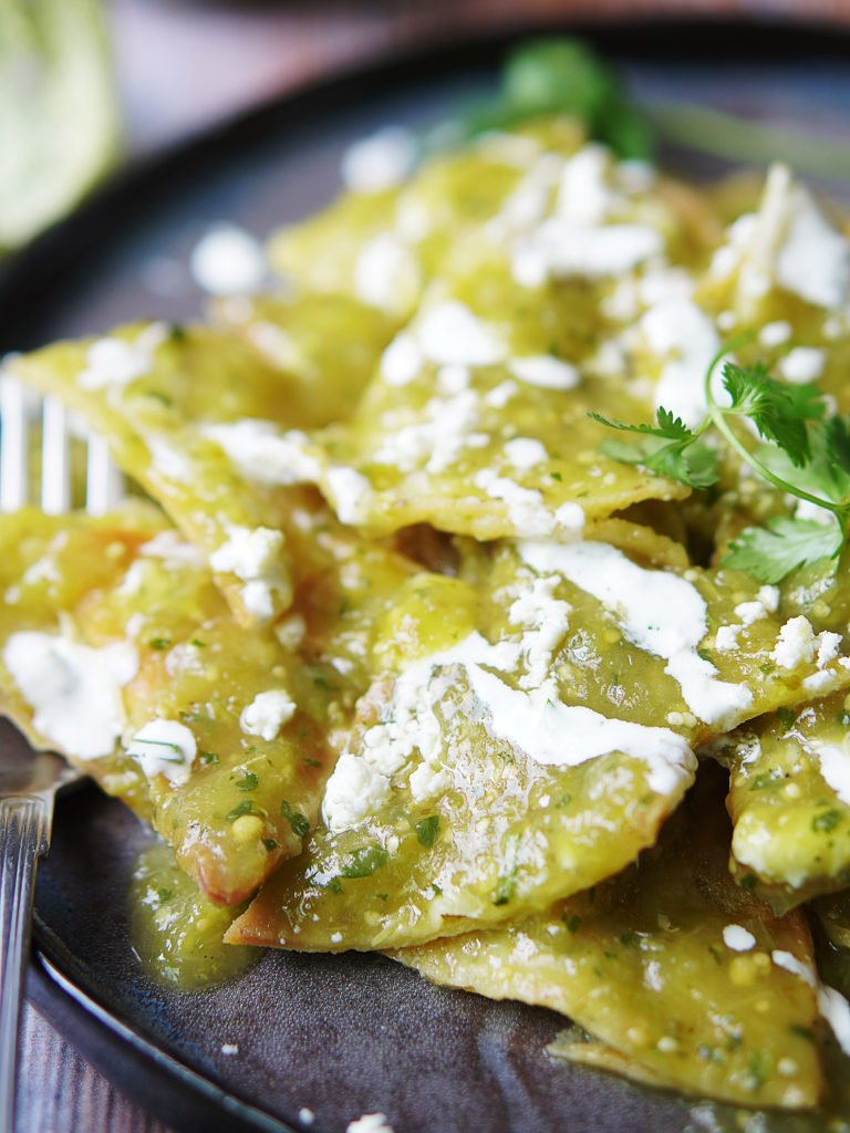 Close up image of Green Chilaquiles