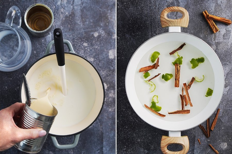 photo #1: adding milk to a sauce pan & photo #2, a white pot with water, lime peels & cinnamon.