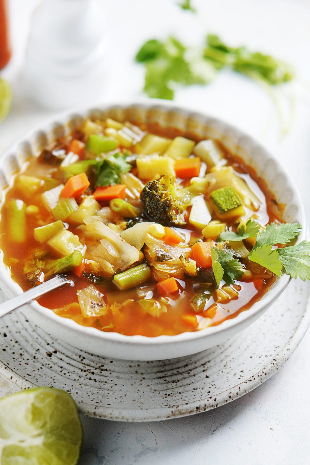A white bowl with Vegetable Soup