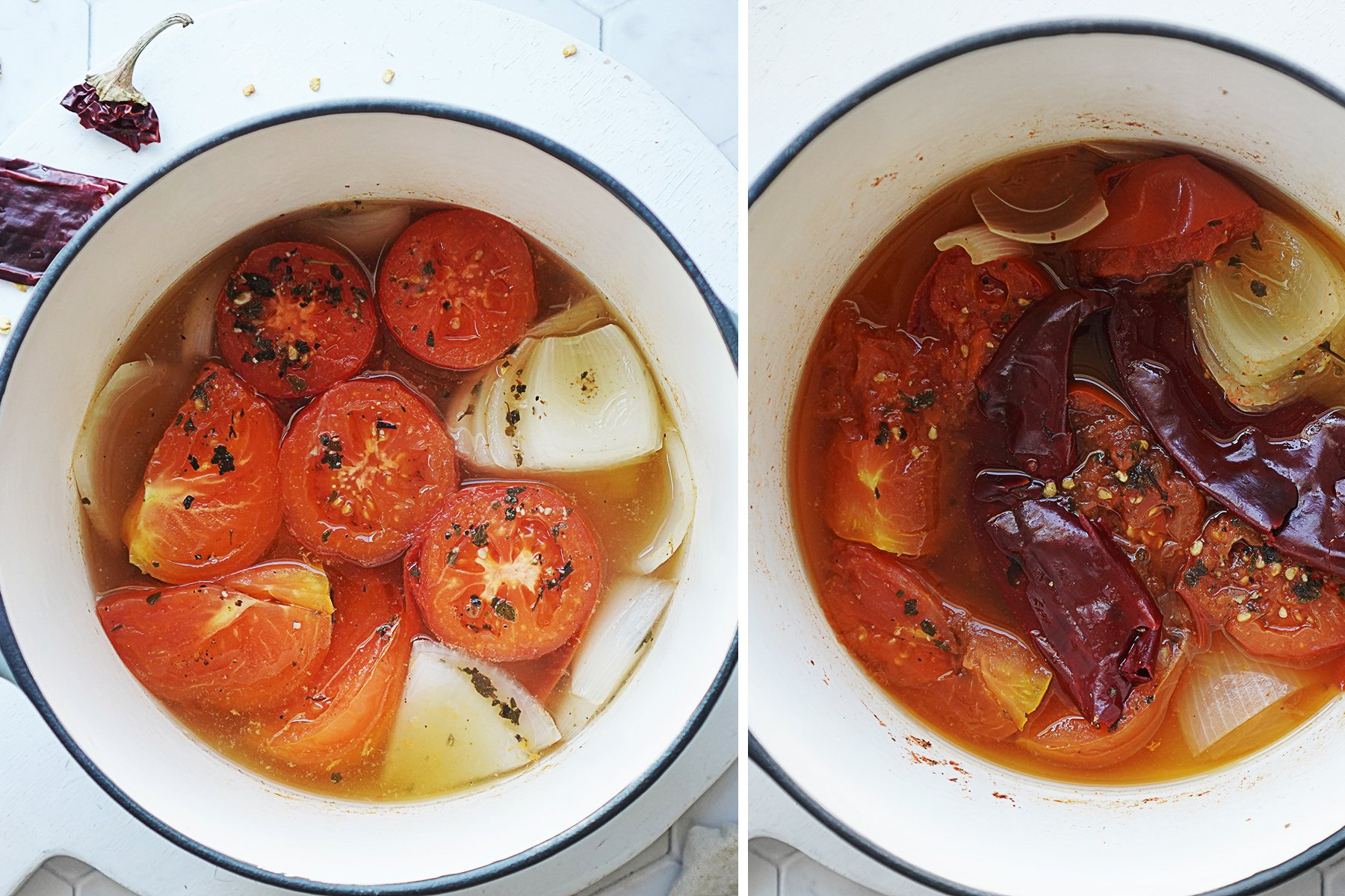 A small saucepan with cooked tomatoes, garlic, onions & guajillo chiles