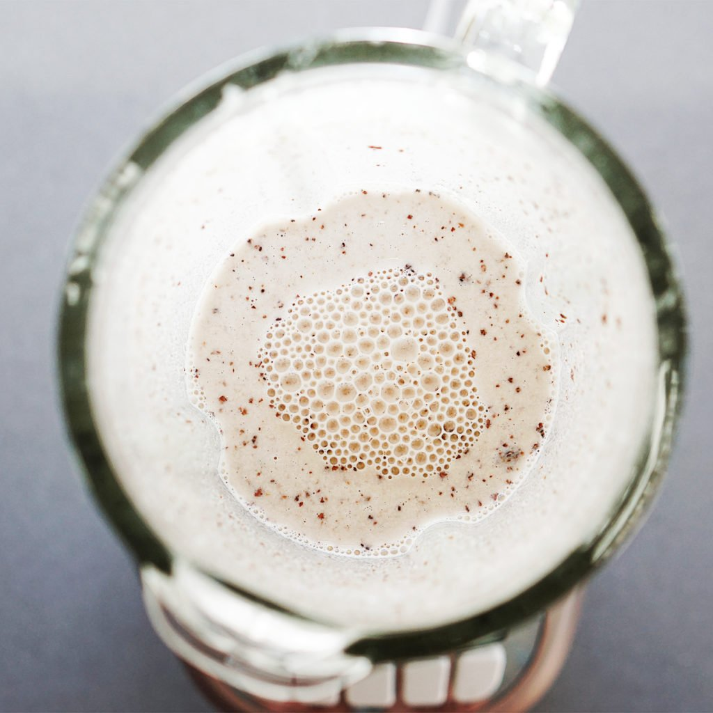 Rice & water mixture inside a blender