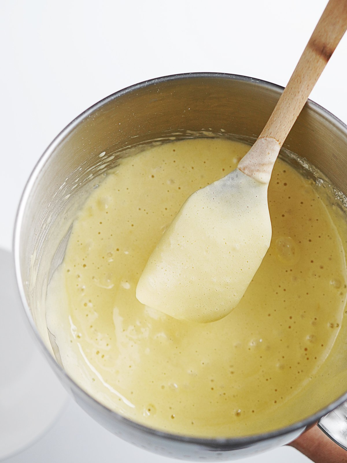 Cake batter in a mixing bowl