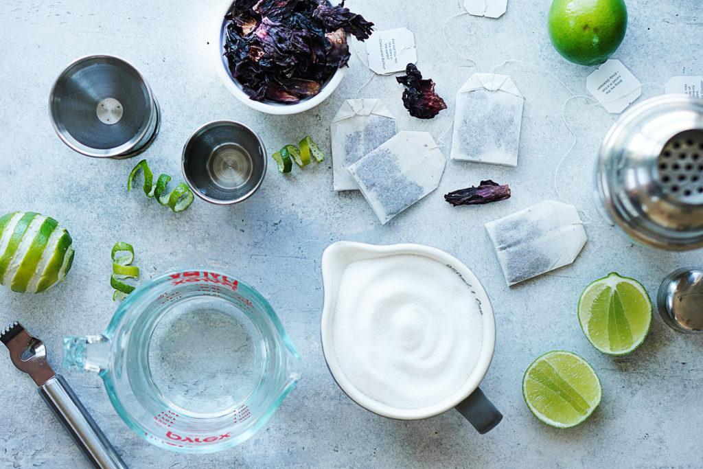 Ingredients: sugar, water, hibiscus tea bag, tequila, triple sec and lime