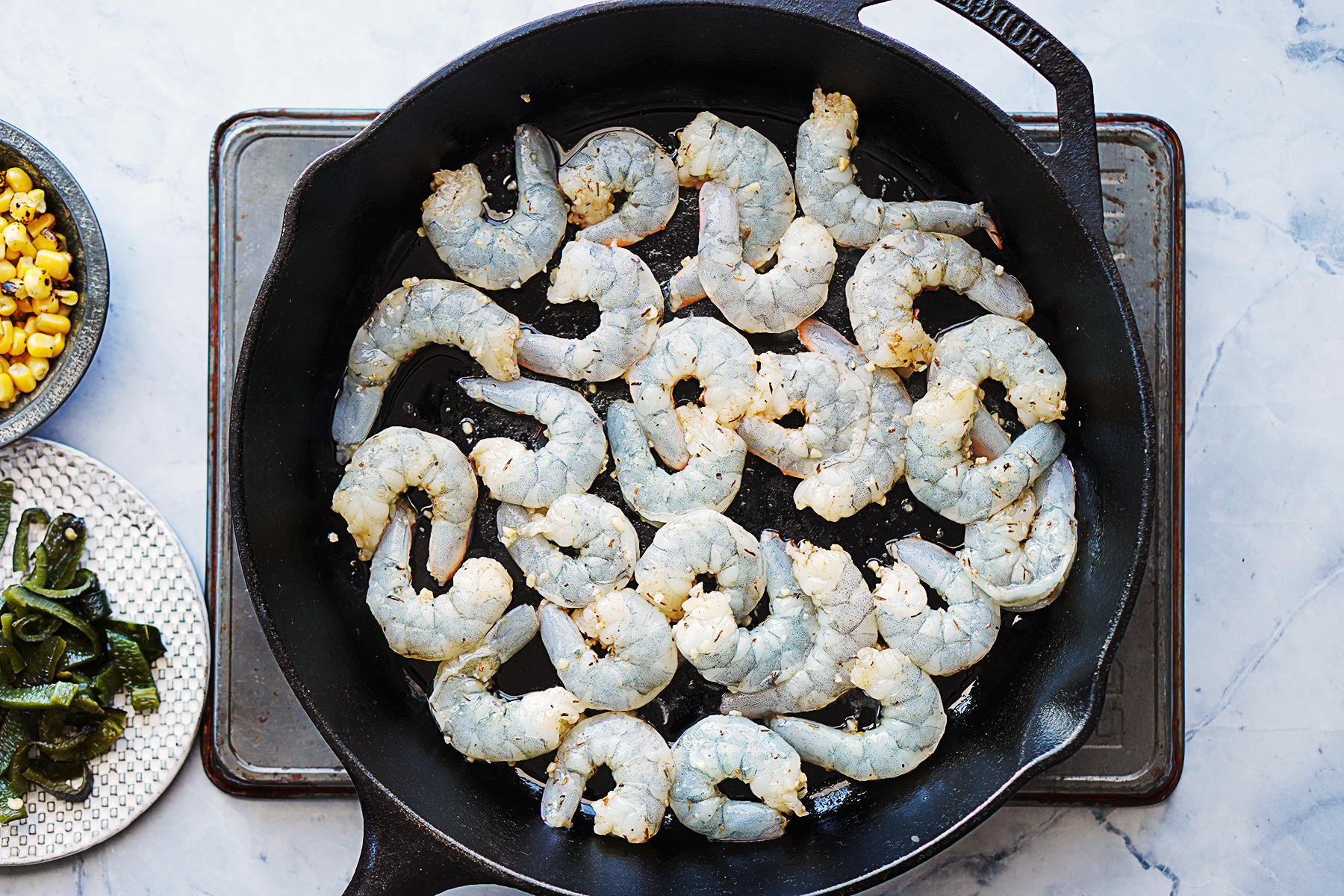 Cooking shrimp in a cast iron skillet