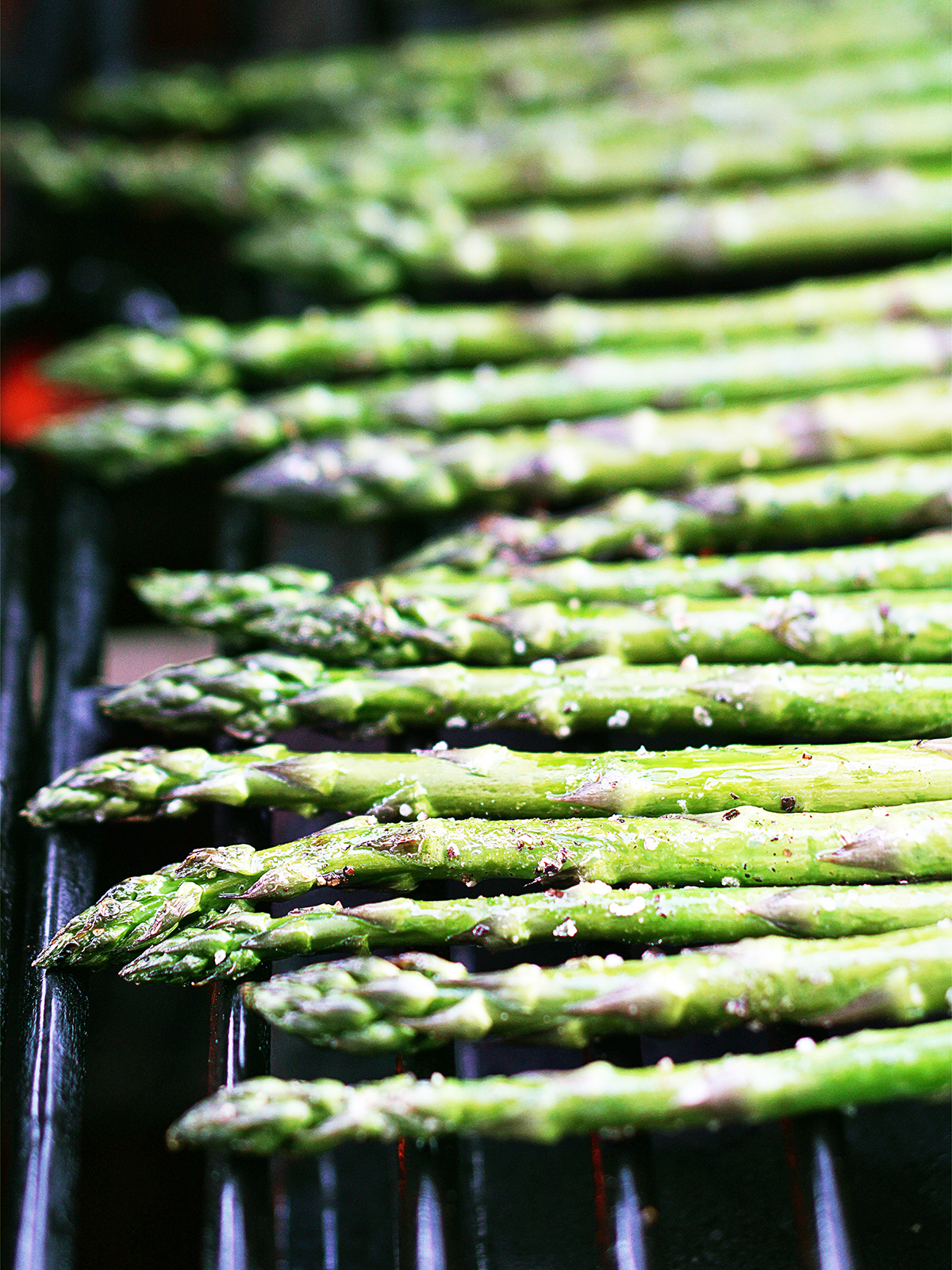 Grilling asparagus on a gas grill