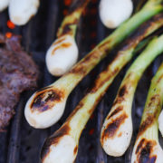 Cebollitas on the grill with grill marks